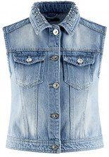 oodji Ultra Donna Gilet in Jeans con Rivetti sul Colletto, Blu, IT 42 / EU 38 / S