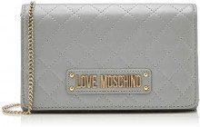 Love Moschino Quilted Nappa Pu, Pochette da Giorno Donna, (Grigio), 15x10x15 cm (W x H x L)
