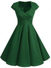 Bbonlinedress Women's Vintage 1950s cap Sleeve Rockabilly Cocktail Dress Multi-Colored Green XS