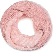 styleBREAKER Sciarpa in ciniglia con motivo a nido d'ape e fodera in pile, sciarpa a tubo, unisex 01018159, colore:Rosa antico