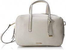 Calvin Klein Frame Duffle - Borse a secchiello Donna, Bianco (Cement), 15x19x28 cm (B x H T)