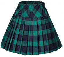 Urban GoCo Donna Versatile Plaid Pieghe Mini Gonna da Plissettata Vita Elastica Scozzese Gonna (X-Large, #5 Verde)