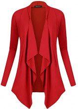 Urban GoCo Donna Cardigan Drappeggiato Aperto Davanti a Maniche Lunghe e Orlo Irregolare Giacca Top (Small, Rosso)