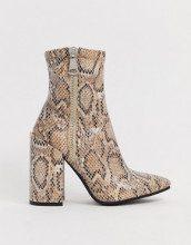 Renzo - Stivaletti a calza pitonati con tacco largo