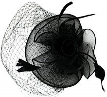 EEVASS Cappelli Donna Fascinator Cappello Veil Looped Strips Fiore Piuma Hat Wedding (# Nero)