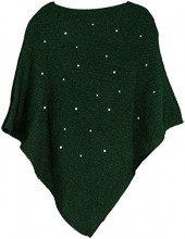 styleBREAKER Poncho da Donna in Maglia fine con Applicazione di Perle, Girocollo 08010056, Colore:Verde Scuro