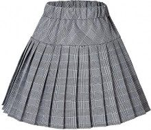 Urban GoCo Donna Versatile Plaid Pieghe Mini Gonna da Plissettata Vita Elastica Scozzese Gonna (Medium, #11 Bianco)