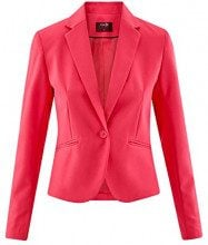 oodji Ultra Donna Blazer Basic Aderente, Rosa, IT 42 / EU 38 / S