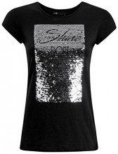 oodji Ultra Donna T-Shirt con Paillettes, Nero, IT 40 / EU 36 / XS