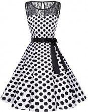 Bbonlinedress Donna 1950 Vintage Senza Maniche Rockabilly Cocktail Swing Dress White Black BDot 3XL