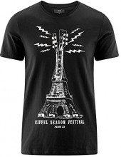 oodji Ultra Uomo T-Shirt con Stampa Torre Eiffel, Nero, IT 48 / EU 50 / M