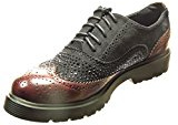 Angkorly - Scarpe da Moda Scarpe brogue scarpa derby bi-materiale donna strass perforato Tacco a blocco 3 CM - Bordo