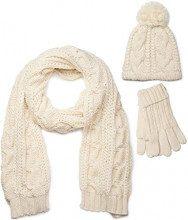 styleBREAKER set coordinato di sciarpa, cuffia e guanti, sciarpa in maglia con motivo intrecciato con cuffia a pon pon e guanti, donna 01018208, colore:Crema-Beige/Sciarpa