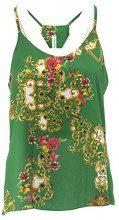 Netgozio Canotta Canottiera Donna Top Floreale Elegante Estivo T-Shirt Made in Italy Verde Taglia Unica