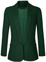 Urban GoCo Donne Blazer Giacca Cappotto Maniche Lunghe OL Ufficio Business Giacca (X-Large, Verde Scuro)
