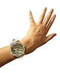 Orologio da polso elegante 2016 per la donna, al quarzo analogico, in nero, grigio e argento, modello zebrato, con strass Swarovski Elements, orologeria di Seiko, marca Jimmy Crystal New York