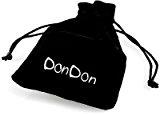 DonDon 55cm acciaio inox collana con acciaio inox Tribal ciondolo a forma di croce in sacchetto di velluto nero