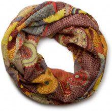 styleBREAKER sciarpa scaldacollo con design etnico, cerchi colorati e pois 01016012, material:materiale standard, colore:Arancione-Giallo-Marrone