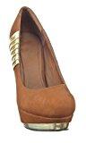 Sopily - Scarpe da Moda scarpe decollete Decollete Stiletto alla caviglia donna metallico 12.5 CM - Marrone