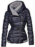 Giacca da sci invernale, corta, da donna, trapuntata effetto piumino con cappuccio