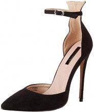 Lost Ink Ankle Strap Stiletto Court, Scarpe con Cinturino alla Caviglia Donna, (Black 0001), 36 EU