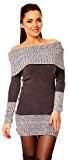 Zeta Ville - Vestito maglia Lungo maglione Bottoni pullover aderente Donna 913z