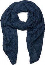 styleBREAKER pashmina tessuto increspato, a tinta unita, effetto stropicciato, foulard, da donna 01016107, colore:Blu scuro