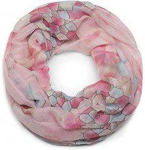 styleBREAKER sciarpa ad anello fantasia nido d'ape e fiori, sciarpa ad anello, foulard, da donna 01016160, colore:Rosa