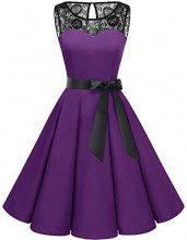 Bbonlinedress Donna 1950 Vintage Senza Maniche Rockabilly Cocktail Swing Dress Purple S
