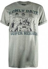 DC Comics Only Date Superheroes, T-Shirt Donna, (Heather Military Green Hmg), 48 (Taglia Produttore:X-Large)