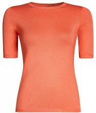 oodji Collection Donna Maglia con Maniche Corte e Girocollo, Arancione, IT 44 / EU 40 / M