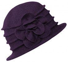 Urban GoCo Donne Elegante Fiori Beret Beanie Hat Secchio Feltro di Lana Cappello Benna Cloche Berretto (#2 Viola)