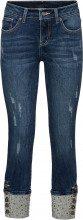 Jeans con risvolto e borchiette