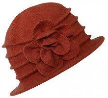 Urban GoCo Donne Elegante Fiori Beret Beanie Hat Secchio Feltro di Lana Cappello Benna Cloche Berretto (#2 Arancione)