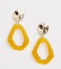 Orecchini pendenti astratti giallo e oro