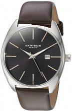 Akribos XXIV-Orologio da uomo al quarzo con Display analogico e cinturino in pelle marrone AK945SSBR