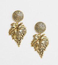 Orecchini di tendenza placcati oro con pendente a forma di grappolo d'uva