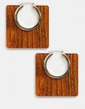 Orecchini quadrati in resina effetto legno con cerchio oro