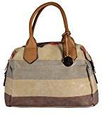 tollery–Borsa a tracolla–Borsa con manici Bowling Borsa similpelle Kult strisce borsa a tracolla borse donna 40x 29x 12cm (B x H x T)