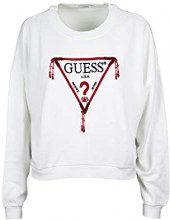 Guess Icon Beads Fleece, Felpa Donna, Bianco (True White A000 Twht), Small (Taglia Produttore:S)