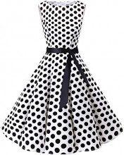 Bbonlinedress Women's Retro 1950s Vintage Swing Rockabilly Party Cocktail Dress White Black BDot 3XL