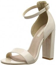 Lost Ink Lexi Low Counter Block Heel Sandal, Scarpe col Tacco Punta Aperta Donna, Pink (Nude 0013), 39 EU