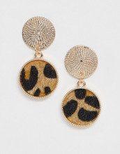 Orecchini con borchia a corda oro e pendente effetto pelle di leopardo