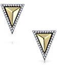 Bling Jewelry Placcato oro argento Sterling CZ Triangolo Orecchini