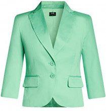 oodji Collection Donna Blazer Basic con Maniche a 3/4, Verde, IT 40 / EU 36 / XS