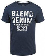 Blend Dano Magliette T-Shirt A Maniche Corte con Stampa da Uomo con Girocollo Taschino, Taglia:XL, Colore:Navy (70230)