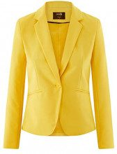 oodji Ultra Donna Blazer Basic Aderente, Giallo, IT 38 / EU 34 / XXS