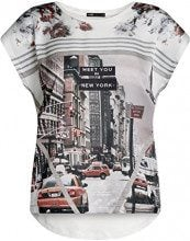 oodji Ultra Donna T-Shirt Stampata Mix Materiali, Bianco, IT 40 / EU 36 / XS