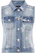 oodji Ultra Donna Gilet in Jeans con Stampa Stelle, Blu, IT 38 / EU 34 / XXS