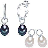 Valero Pearls Orecchini semicreolo da Donna in Argento Sterling 925 con rodio con Perle coltivate d'acqua dolce bianco blu pavone 60840014